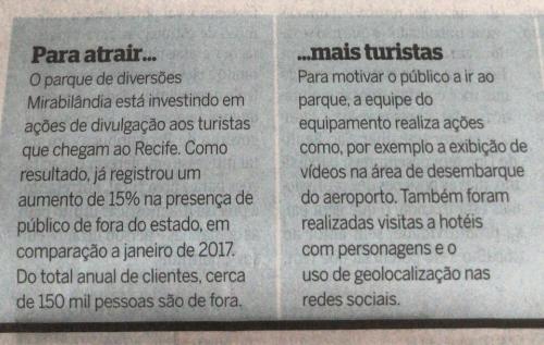 Destaque da campanha do parque de diversões Mirabilândia feita no Aeroporto de Recife no Diário de Pernambuco
