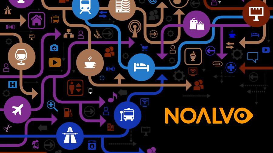 Ilustração da NOALVO com diversos ícones que remetem a tecnologia