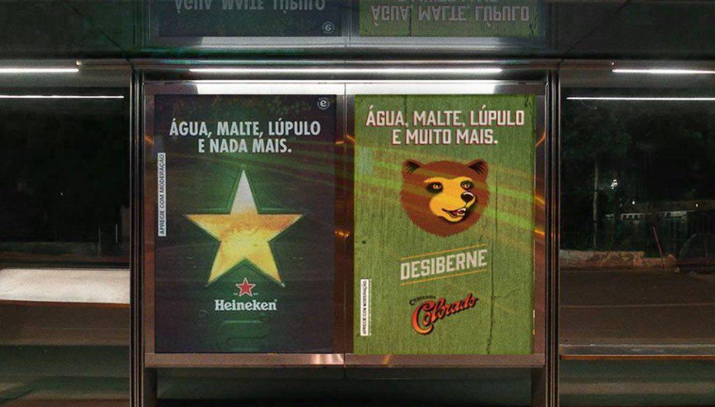 Campanha da colorado em abrigos de ônibus em resposta a Heineken