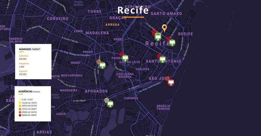 Exemplo de mapa de calor usado no plano de mídia para a campanha da Picap em Recife