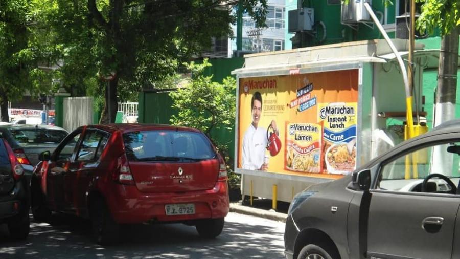 Anúncio em banca de jornal na campanha da Maruchan