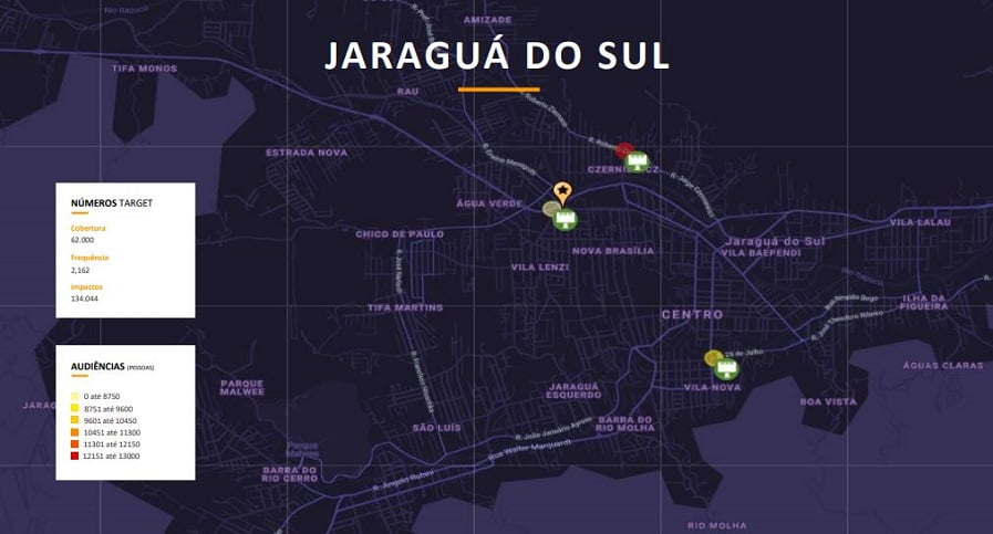 Mapa de calor do plano de mídia para a campanha do Ifood em Jaraguá do Sul